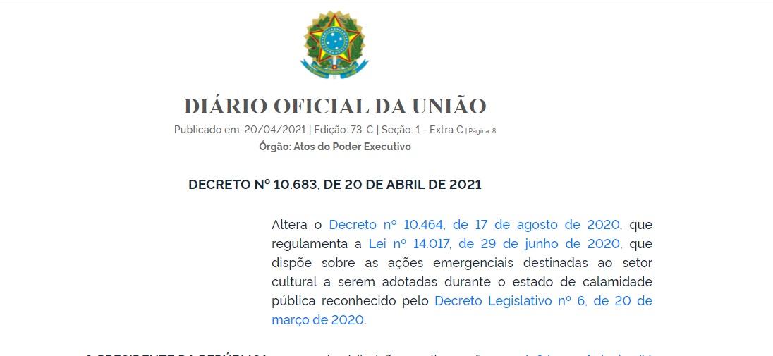 Lei Aldir Blanc: novo decreto prorroga entrega da prestação de contas e devolução de recursos para 2022